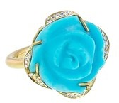 Irene Neuwirth Carved Turquoise Rose Ring with Diamonds