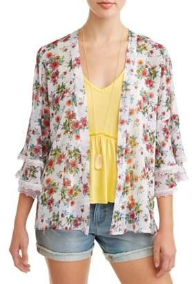Self Esteem Juniors' Floral Printed Kimono Swing Tank & Necklace 3Fer