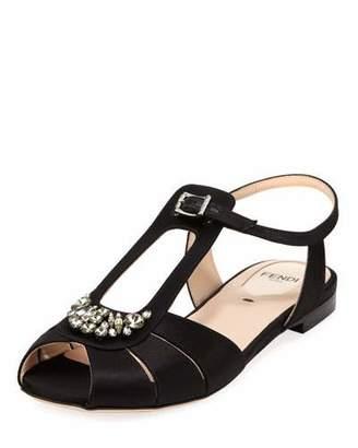 Fendi Chameleon Flat Jeweled Satin Sandal