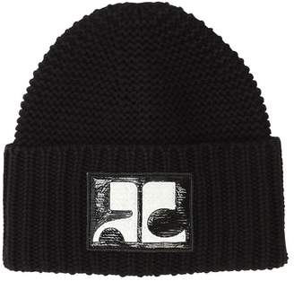 Courreges Vinyl Logo Patch Wool Beanie Hat