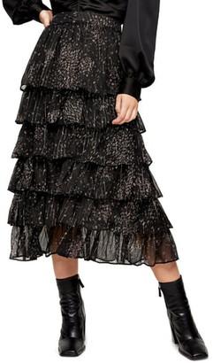 Topshop Tiered Ditsy Metallic Maxi Skirt
