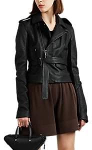 Rick Owens Women's Leather Belted Moto Jacket - Black