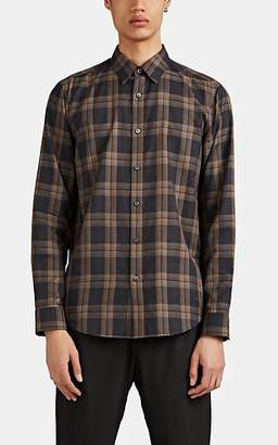 Theory Men's Plaid Cotton Flannel Shirt - Brown