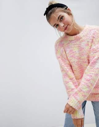 Asos DESIGN Sweater In Pom Pom Space Dye Yarn