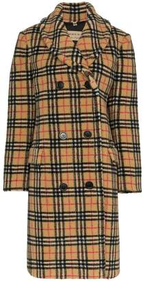Burberry double-breasted check faux shearling coat