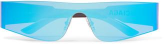 Balenciaga Mono Rectangle-Frame Nylon Mirrored Sunglasses - Men - Blue