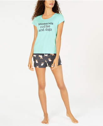 Macy's Jenni by Jennifer Moore 2-Pc. Cotton Graphic Top & Pajama Shorts Set, Created for