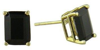 Black Onyx Stud Earrings in 14K Yellow Gold