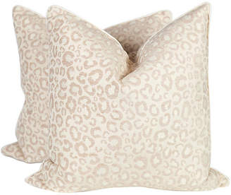 One Kings Lane Vintage Cream & Ivory Leopard Pillows - Set of 2 - Ivy and Vine