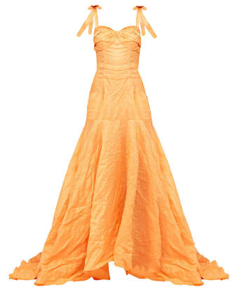 Bambah Orange Arancia Gown With Tie Shoulder Straps And Fitted Bust