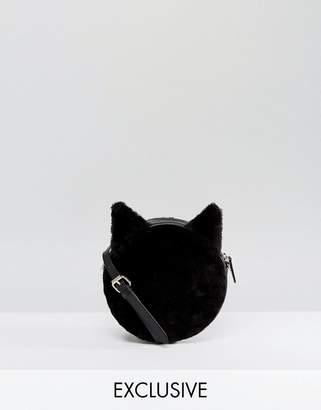 Monki Cat Faux Fur Cross Body Bag