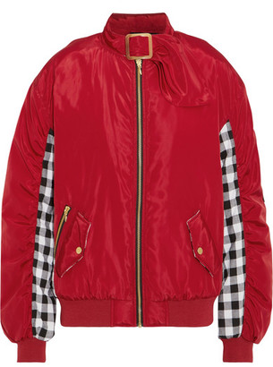 Shell And Checked Cotton Bomber Jacket - Red