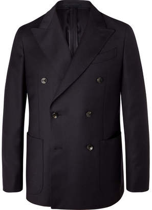 Caruso Navy Butterfly Double-Breasted Wool Blazer