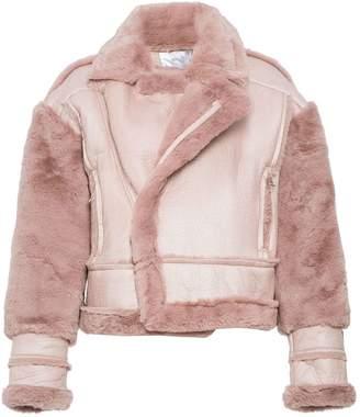 Quiz Pink Faux Fur Lined Chunky Biker Jacket