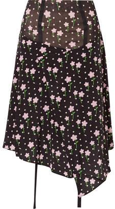 Sandy Liang - Norman Floral-print Silk Crepe De Chine Skirt - Black