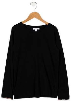 Burberry Girls' Long Sleeve Scoop Neck Top