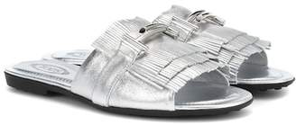 Tod's Double T metallic leather sandals