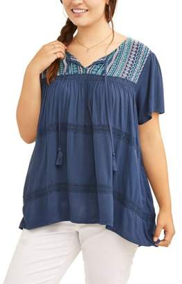 Cherokee Women's Plus Embroidered Peasant
