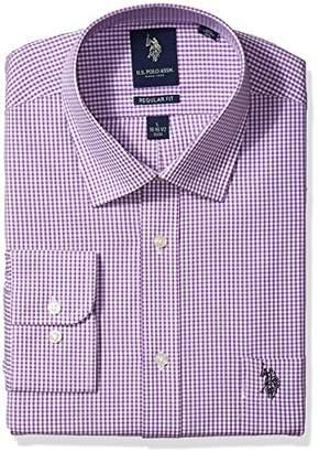 U.S. Polo Assn. Men's Regular Fit Check Semi Spread Collar Dress Shirt