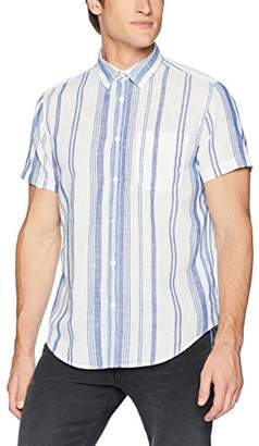 Calvin Klein Jeans Men's Short Sleeve Button Down Shirt Beach Stripe