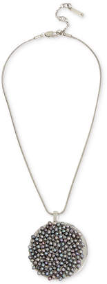 "Kenneth Cole New York Silver-Tone Gray Imitation Pearl Woven Pendant Necklace, 15"" + 3"" extender"