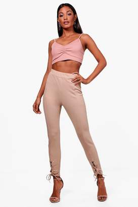 boohoo Laurie Eyelet Lace Up Seam Front Leggings