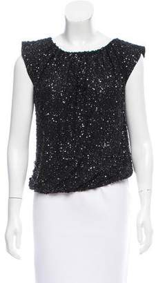 Alice + Olivia Silk Sequin Top