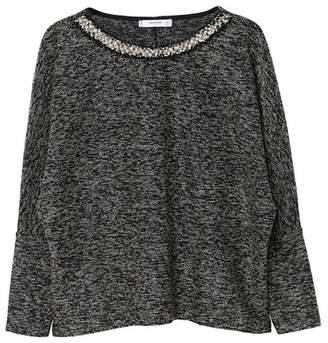 MANGO Grey Speckled Jacquard 'Clemenza' Long Sleeves Top