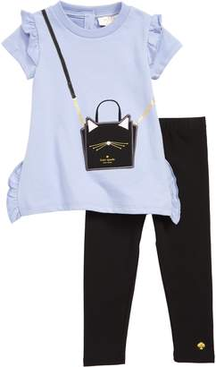 Kate Spade Cat Handbag Tunic & Leggings Set