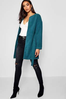 boohoo Collarless Belted Wool Look Coat
