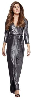 Mela London - Silver Shimmer 'Alissia' V-Neck Maxi Dress