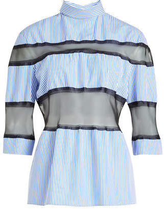 Maison Margiela Striped Cotton Blouse with Silk Chiffon Inserts