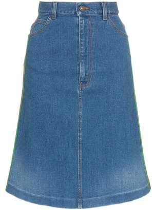 Gucci contrast side stripe A-line denim skirt
