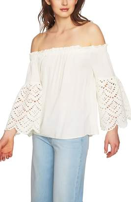 1 STATE 1.STATE Off the Shoulder Eyelet Sleeves Blouse