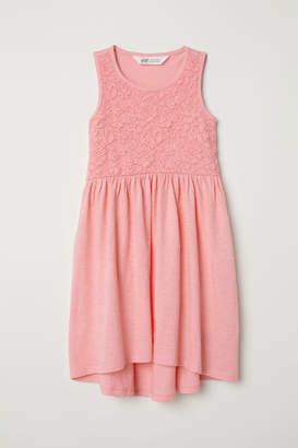 H&M Jersey Dress with Lace - Pink