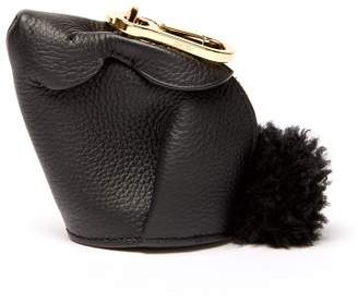 Loewe Bunny Leather And Shearling Coin Purse - Mens - Black