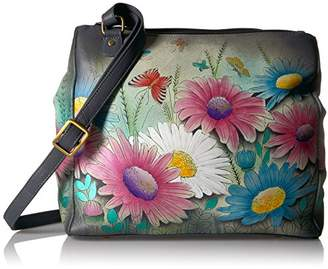 Anuschka Anna by Women's Genuine Leather Large Multi-Compartment Tote Bag| Hand Painted Original Artwork | Dancing Dragonflies