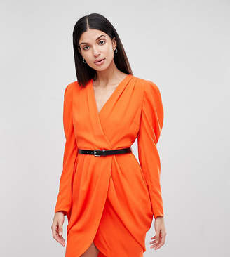 Asos Tall Tall Plunge Neck Wrap Mini Dress with Belt