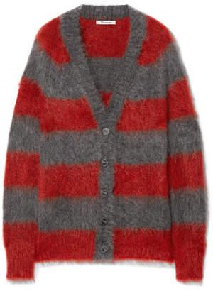 Alexander Wang Striped Mohair-blend Cardigan - Red