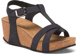 Made In Italy Leather T-strap Wedge Sandals