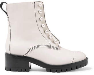 3.1 Phillip Lim Hayett Faux Pearl-embellished Leather Ankle Boots - White