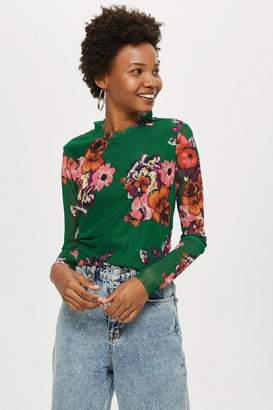 Topshop Yas Floral Mesh Top by YAS