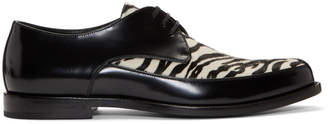 Saint Laurent White and Black Charles 25 Tiger-Look Derbys