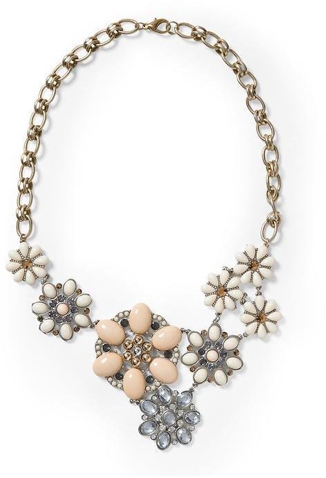 Vince Sabine Flower Cabachon Statement Necklace