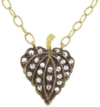 Cathy Waterman Rose Cut Diamond Leaf Necklace - 22 Karat Gold