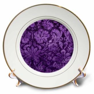3dRose Decorative Vintage Floral Wallpaper Purple, Porcelain Plate, 8-inch
