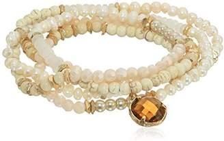 Panacea Howlite and Pearl Multi-Row Stretch Bracelet