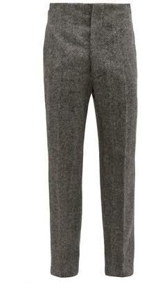 Maison Margiela Wool Herringbone Trousers - Mens - Black White
