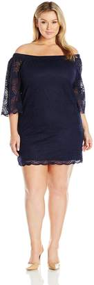 Tiana B T I A N A B. Women's Plus Size 3/4 Sleeve Off the Shoulder a-Line Dress