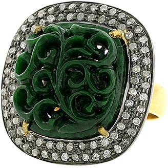 Artisan Jewelry Artisan 18K & Silver 8.01 Ct. Tw. Diamond & Jade Ring